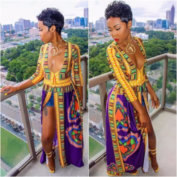 Hot Sale Traditional African Clothing Africaine Print Dashiki Dress Vintage