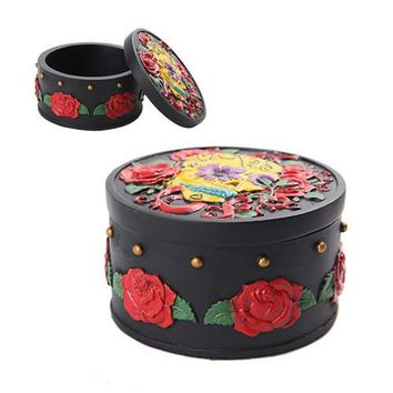 Day of the Dead Red Roses Skull Trinket Box
