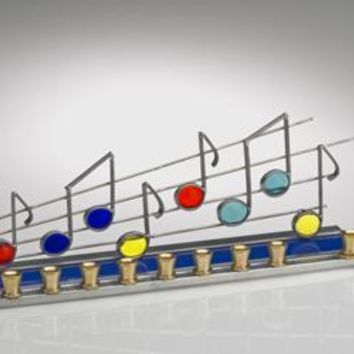 Stained Glass Designs - Music Notes Hanukkah Menorah