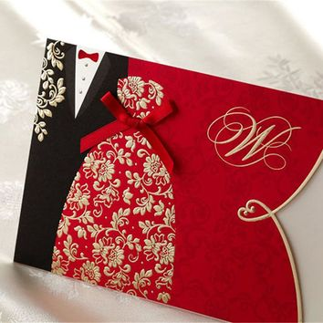 1pcs Sample Red Bride and Groom Laser Cut Wedding Invitations Card