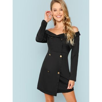 Double Breasted Collared Bardot Dress