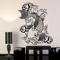 Vinyl Wall Decal Koi Japanese Fish Water Lily Flowers Asian Style Stickers Unique Gift (1283ig)