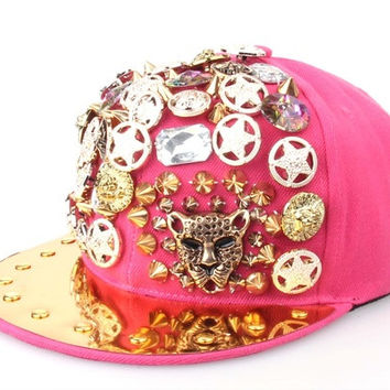 2015 New Fashion Summer Fashion Hand Sewing Buttons Revit Leopard Head Hip Hop Punk Baseball Caps Street Dance Caps