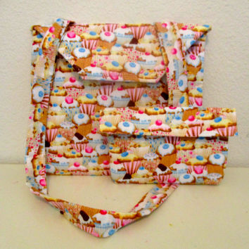 Pocket Bag - Cupcake Fabric Print - Cross Body Bag with Cell Phone Holder