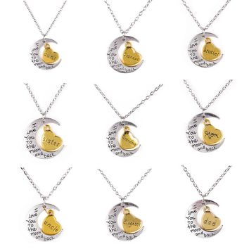 Vintage Family Pendants Necklaces Shellhard I Love You To the Moon Heard Carved Letters Choker Necklace For Women Men Jewelry