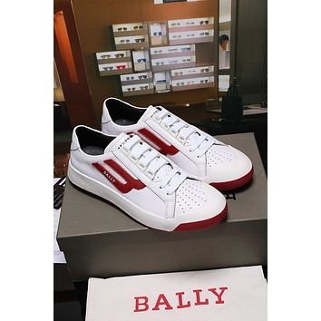 Bally The New Competition Men's Deer Leather Trainer In White Red Sneakers Shoes - Sale