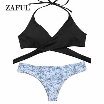 Zaful 2017 Wrap Bikini Top And Baroque Bottoms Bikini Set Sexy Swimsuit Ladies Beach Wear Bathing Suit swimwear