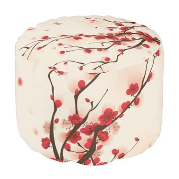 Oriental Style Painting Plum Blossom in Spring Pouf