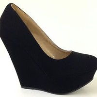 New Womens wedge High heels Platform pumps Booties Round Toe Fashion Shoes size