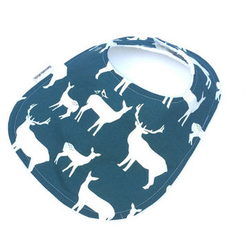 Baby Bibs Girls - Deer Baby Bib - Girl Bibs - Boys Baby Bib - Gender Neutral Baby - Baby Shower Gift - Blue Baby Bib - Baby Girl Gift