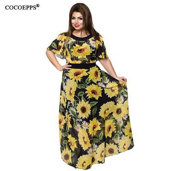 Summer Chiffon Long Dresses Big Size Sunflower Floral Print Dress Large Size Batwing Sleeve Maxi
