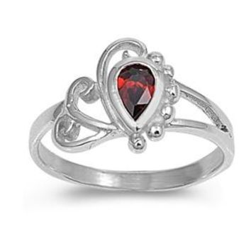 Sterling Silver Filigree Teardrop CZ Garnet 10MM CZ Petite Rings