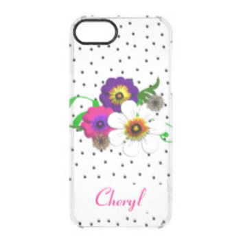 Pretty Flower And Spots Design Uncommon Clearly™ Deflector iPhone 5 Case