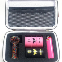 "RIPD Chick Kit ( Double Barrel )- CannaCASE ""MILEY""  Glass Pipe Case, 2 Breaking Bad Containers, Tobacco Pipe, Stash One Toke"