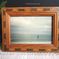 Vintage Picture Frame, Wood Inlay, Handmade Photo Photograph Frame, Wooden Frame 3x5