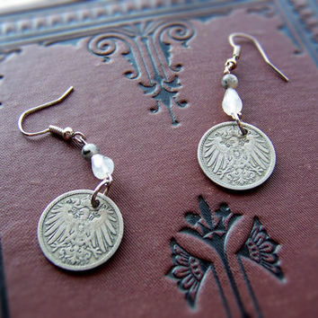 Vintage Antique German Eagle Coin Earrings - Free US Shipping