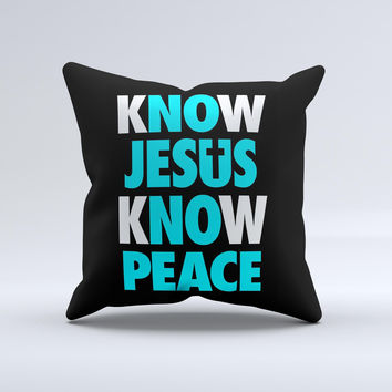 Know Jesus Know Peace - White and Turquoise Over Black  Ink-Fuzed Decorative Throw Pillow