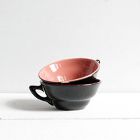 Vintage coffee cups, Two beautiful black coffee cups with colorful insides