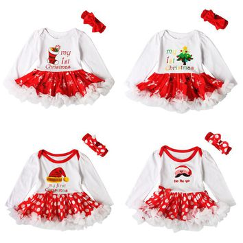 Christmas Baby Girl Clothes Christmas Tree Dress Bodysuit Lace Tutu Dress Bowknot Headband 2pcs sets Newborn Infant baby outfits