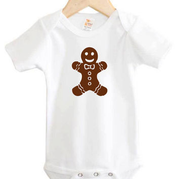 Gingerbread Man Onesuit // Holiday Baby Onesuit // Christmas baby Onesuit // Gingergerbread Cookie