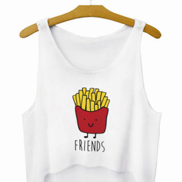 French Fries Friends Letters Crop Top Summer Style Tank Top Women's Top