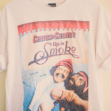 80's Vintage Cheech & Chong's Up In Smoke tee All American  T-shirt White  Men's  Large Oversized Slouchy Size Men's Extra Large XL