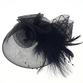 Navifoce Fashion Womens Flower Feather Mesh Net Fascinator Beaded Cocktail Headwear with Hair Clip and Brooch