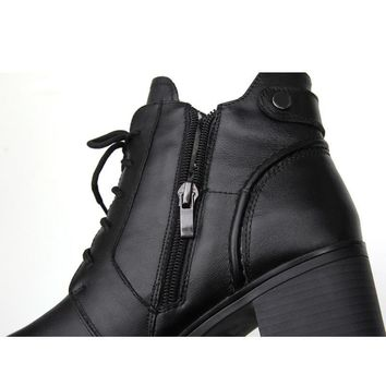 Fashion Genuine Leather Ankle Women Winter Wool Warm Martin Boots
