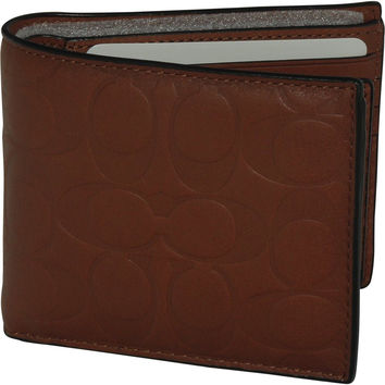 COACH SIGNATURE EMBOSSED CALF LEATHER COMPACT MEN'S WALLET 75265