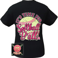 Girlie Girl Originals Its Time for Softball Y'all Sports Bright T Shirt