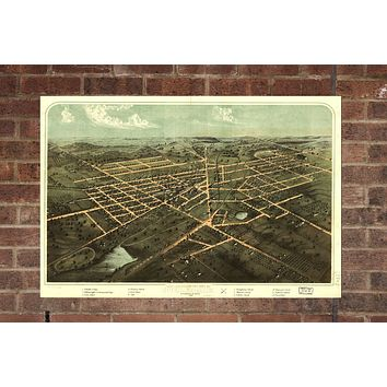 Vintage Hillsdale Print, Aerial Hillsdale Photo, Vintage Hillsdale MI Pic, Old Hillsdale Photo, Hillsdale Michigan Poster, 1866