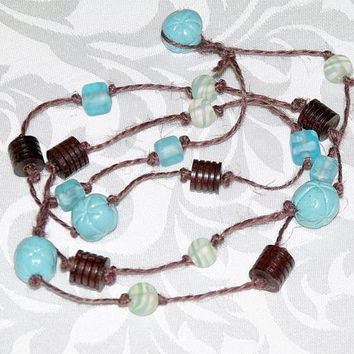 Mixed Bead Necklace on Knotted Hemp Cord - turquoise blue dark brown