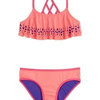 Cut-out Flounce Bikini Swimsuit | Girls {category} {parent_category} | Shop Justice