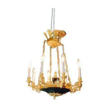 Pre-owned Ornate Doré Bronze Chandelier