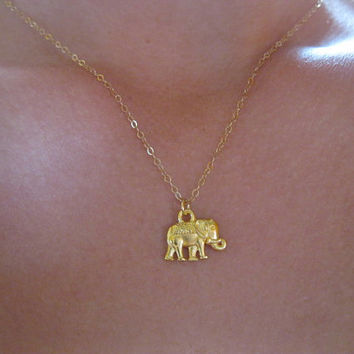 Gold elephant necklace , lucky necklace, best friends necklace, dainty modern minimalist jewelry, bohemian , strength wisdom necklace
