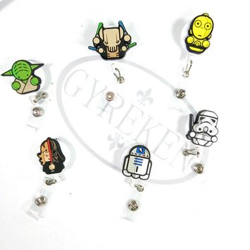 1 Pcs/set lovely Cartoon Star Wars Character Retractable Badge Reel Student Nurse Exihibiton ID Name Card Badge Holder Office