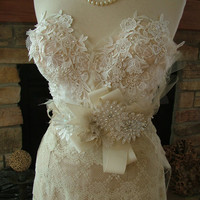 Wedding Bustier custom dress with any style skirt Marilyn Monroe 1950s vintage inspired lace dress