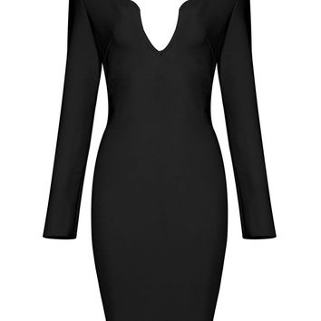 Honey Couture KAI Black Long Sleeve Plunge Neck Mini Dress