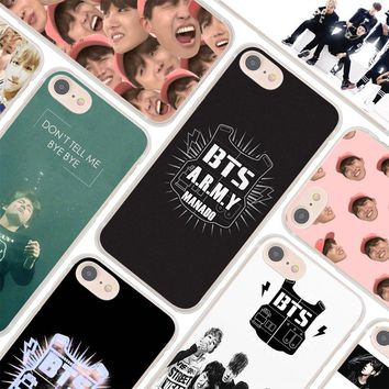 MOUGOL Bangtan Boys BTS Korean Hip Hop Kpo design hard clear Case Cover for Apple iPhone 7 6 6s Plus SE 4s 5 5s 5c Phone Case