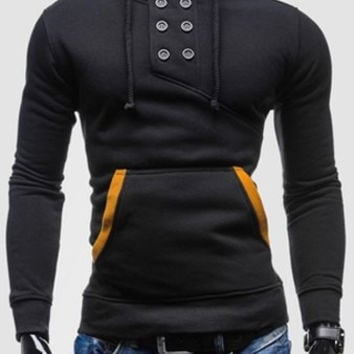 Button Design Drawstring Hooded Long Sleeves Hoodie