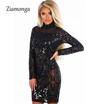 Ziamonga Sexy Turtleneck Sequined Dress Women Fashion Long Sleeve Women Cocktail Party Dress Vintage Club Wear Bodycon Vestidos