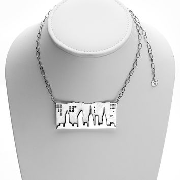 NYC Skyline The City That Never Sleeps Sterling Silver Necklace