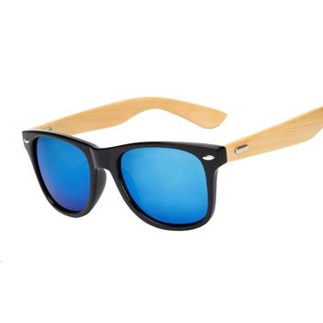 Original Wooden Sunglasses Fashion Men Women Mirror Sun Glasses Vintage Bamboo Sunglasses Wood Eyewear For Myopia Oculos UV400