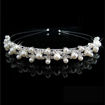 Wedding Party Bridal Bridesmaid Flower Girl Crystal Double Pearl Crown Headband Tiara [7982893063]