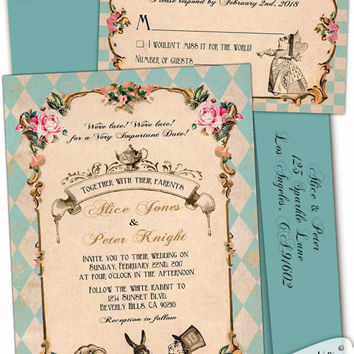 Alice in Wonderland Wedding invitation Mad Hatter Whimsical Tea party Robin egg Blue turquoise teal pink roses vintage Custom personalized