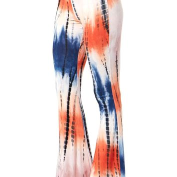 Draw Lining Tie Dye Wash Flared Pants
