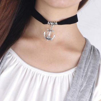 Fashion simple ship's anchor pendant choker necklace NO.8 XR