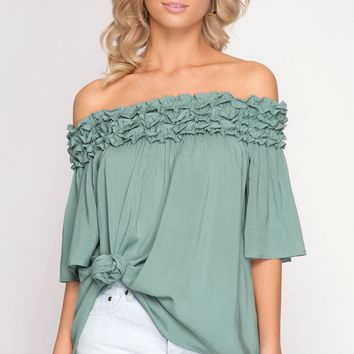 Slate Off Shoulder Ruched Tunic Top