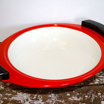 Modern Enamel Bowl Mid Century Red Enamel by VintageShoppingSpree