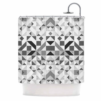 "Vasare Nar ""Monochrome Geometric"" Gray Geometric Shower Curtain"